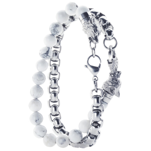 Wolf&Jens Stainless Steel and White Howlite Beads Double Wrap Link Bracelet.