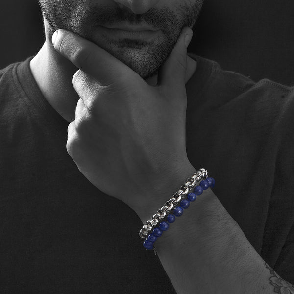 Wolf&Jens Stainless Steel and Blue Lapis Lazuli Beads Double Wrap Link Bracelet.