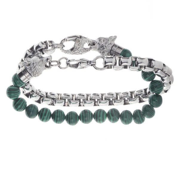 Wolf&Jens Stainless Steel and Green Malachite Beads Double Wrap Link Bracelet.