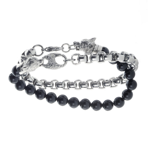 Wolf&Jens Stainless Steel and Black Onyx Beads Double Wrap Link Bracelet.