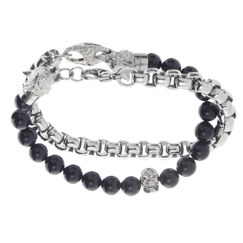 Wolf&Jens Stainless Steel Skull and Black Onyx Beads Double Wrap Link Bracelet.
