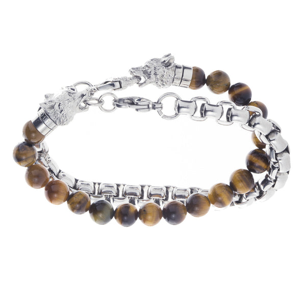 Wolf&Jens Stainless Steel and Tiger Eye Beads Double Wrap Link Bracelet.