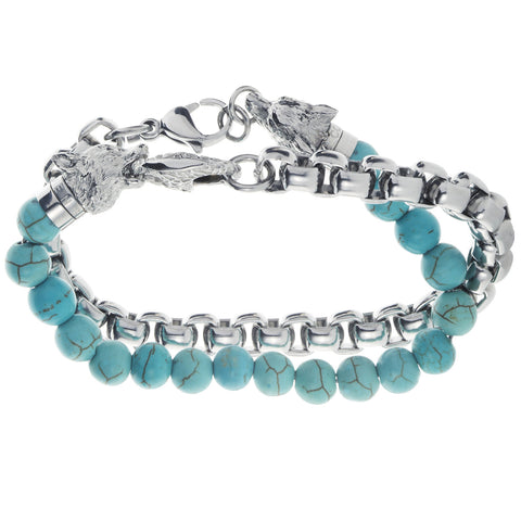 Wolf&Jens Stainless Steel and Turquoise Beads Double Wrap Link Bracelet.
