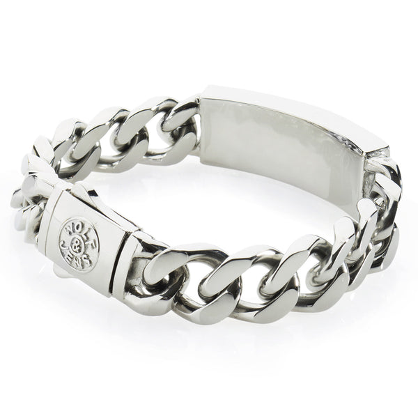 Solid Men's Platinum Style Stainless Steel Bracelet with Black Onyx. Original Wolf&Jens Design.