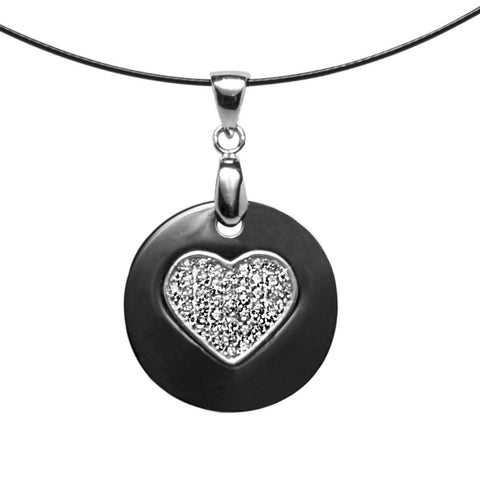 Unique Brillianite® Crystal Heart Necklace set in Black Ceramic with Sterling Silver on Wire Necklace.