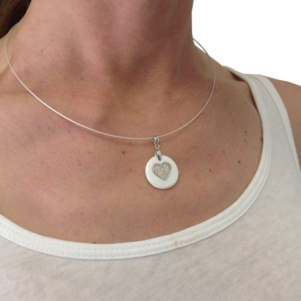 Unique Brillianite® Crystal Heart Necklace set in White Ceramic with Sterling Silver on Wire Necklace.