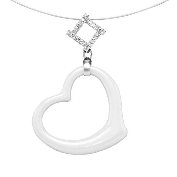 Unique Heart Necklace. White Ceramic with Sterling Silver and Brillianite® Crystals on wire necklace.