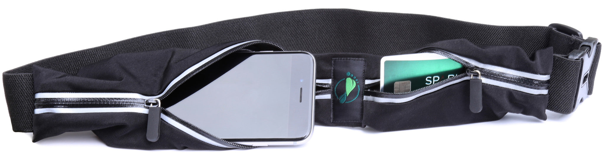 Two Pocket Running Belt Plus for iPhone 7 Plus, Samsung Galaxy Note 7 & All Other Size Phones.