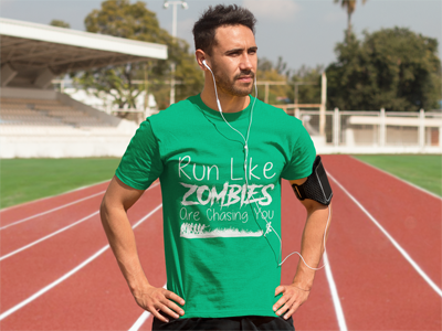 """Run Like Zombies Are Chasing You"" Funny Running T Shirt for Men, Women, Kids"