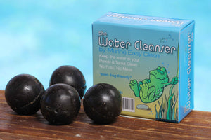The Water Cleanser Aquarium balls (4)- for healthy, clean, and algae-free water - package and product