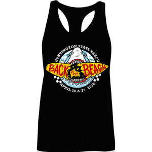 Back To The Beach Shark Racer Tank Top Black