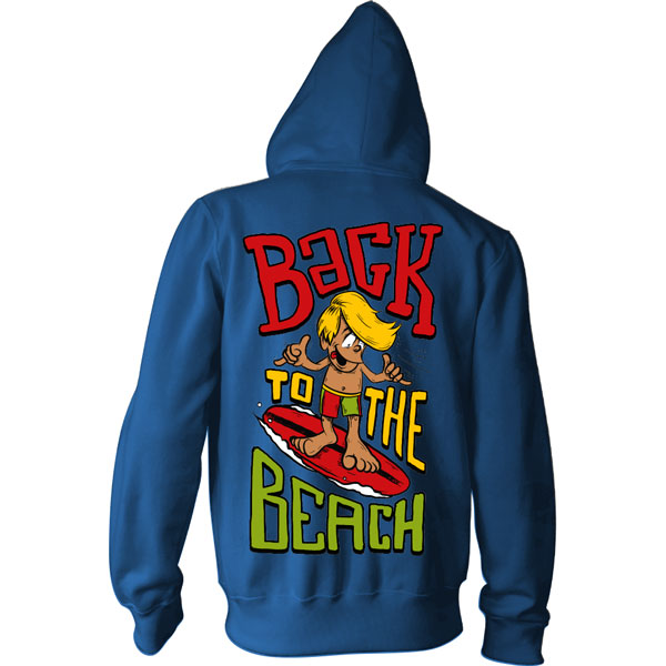 Back To The Beach Surfer Boy Kids Zipper Hooded Sweatshirt Heather Royal