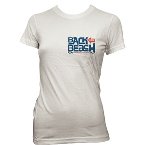 Back To The Beach Wave Girly Tee White