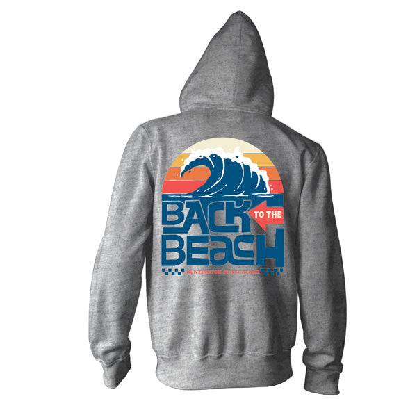 Back To The Beach Wave Zipper Hooded Sweatshirt Gunmetal Heather