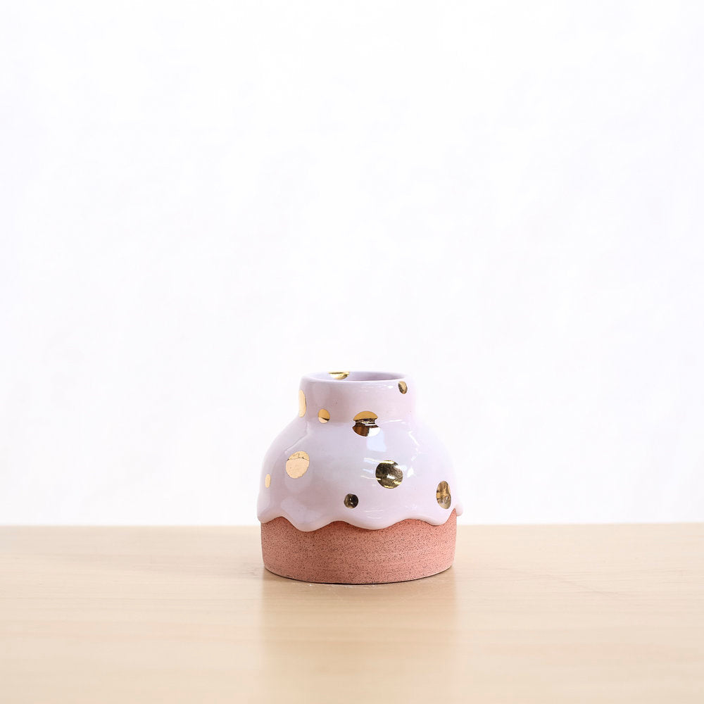 Pink with gold dots vase