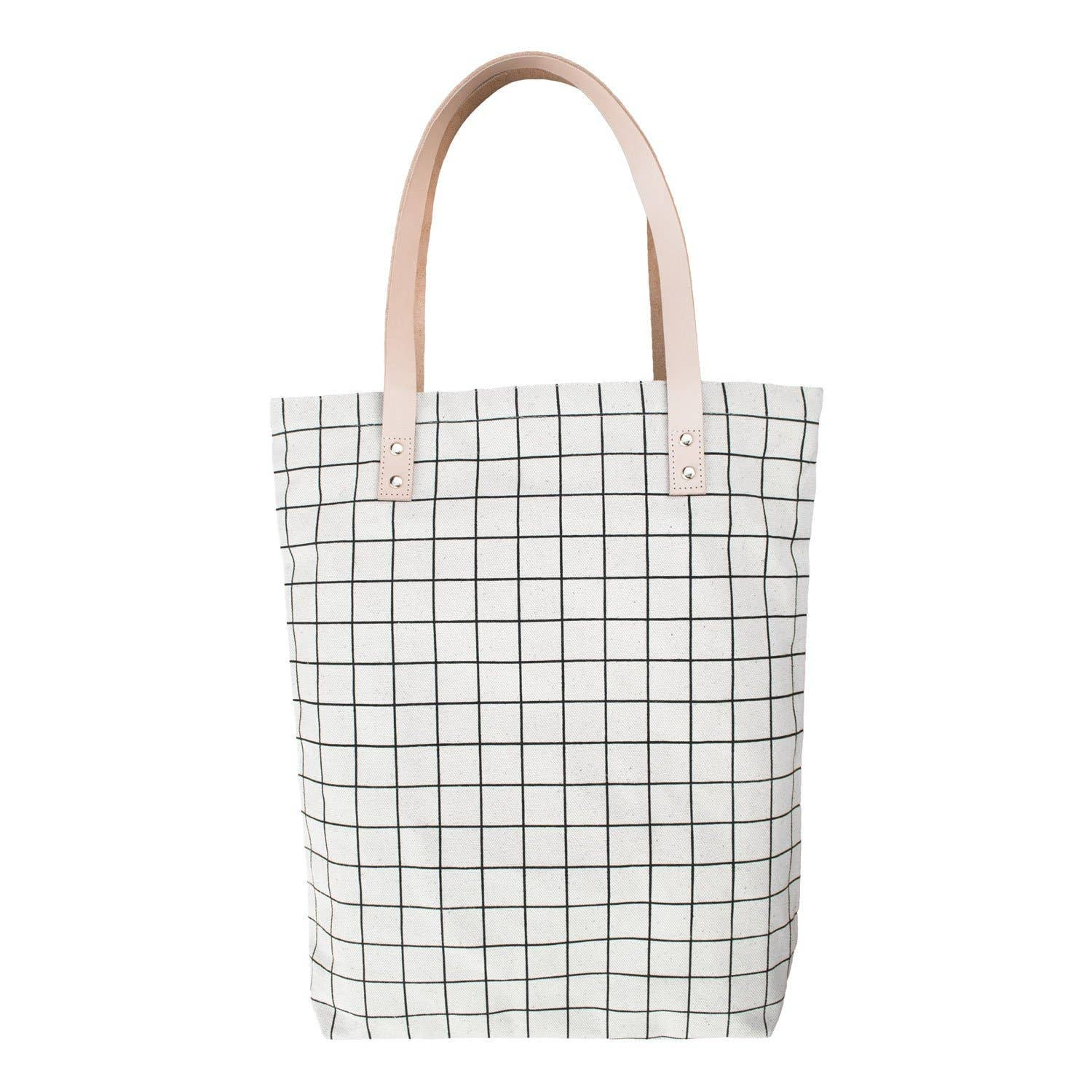 Cali Colored Grid Tote. Leather Handles