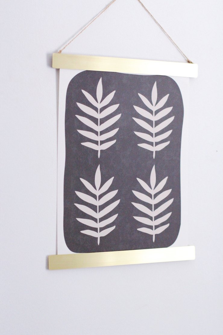 Palm Print and Brass Hanger Set