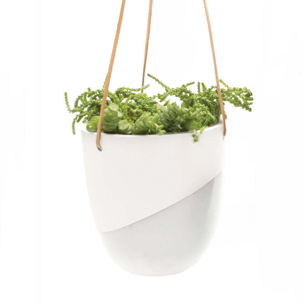 Two Tone White Hanging Planter