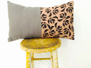 Pillow - Black, tobacco brown and gray linen floral print