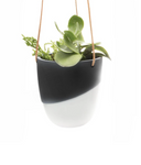 Two Tone Black and White Hanging Planter