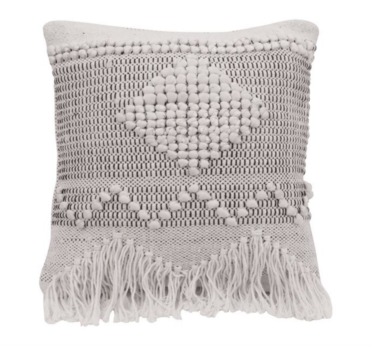 Neutral White & Black Fringe Wool Pillow