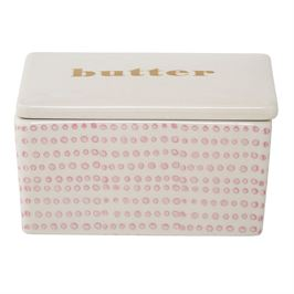 Pink & White Butter Dish
