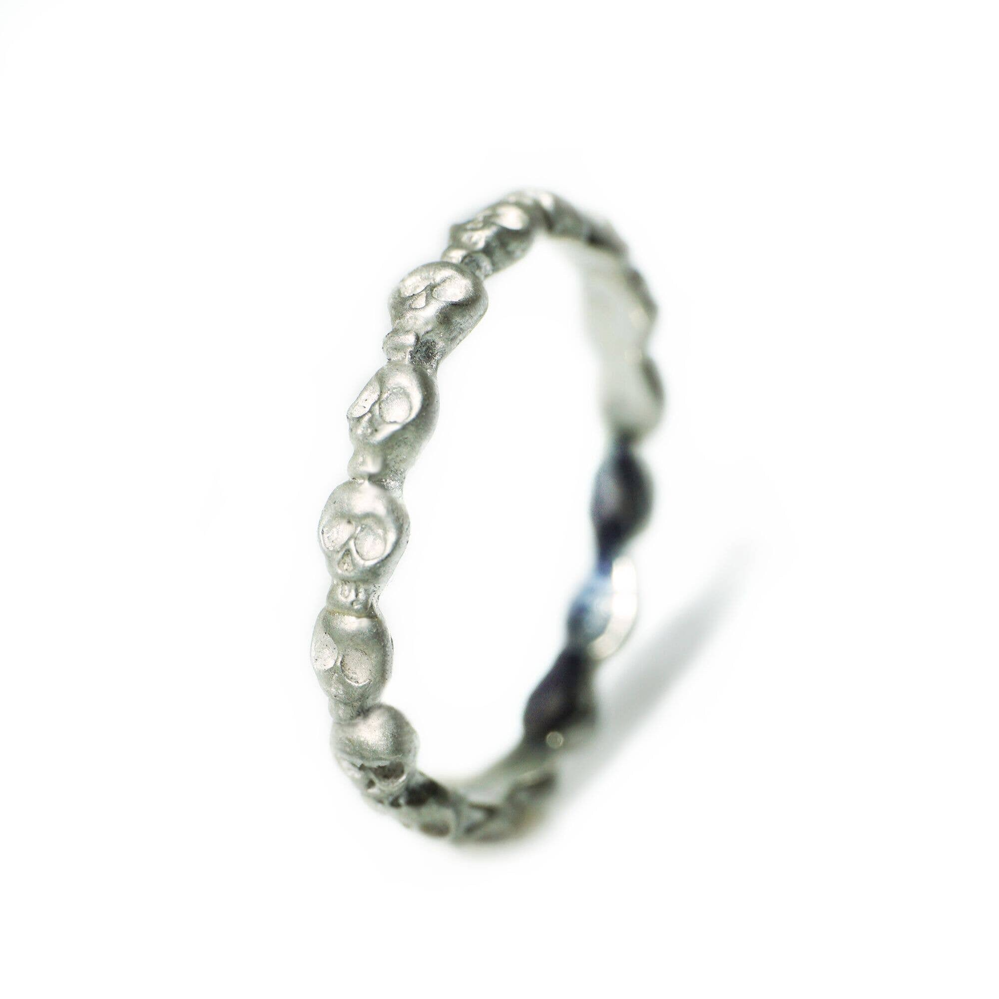 Sterling Silver Mini Skull Eternity Band