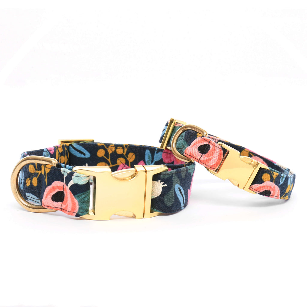 Floral Navy Dog Collar