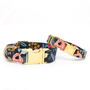 Floral Navy Dog Collar: Size Large