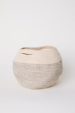 Black jute storage basket