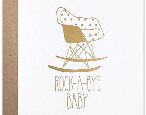 Card: Rock A Bye Baby foil gold
