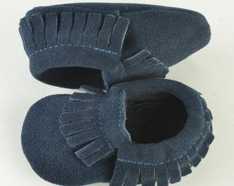 Blue Leather Baby Moccasins