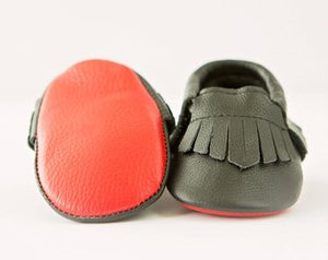 Black Leather Baby Moccasins