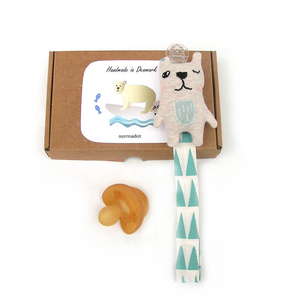 Boxed pacifier holder: Winking Bear