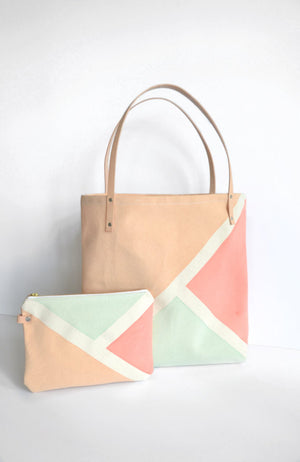 Tote: Canvas and Leather tote. Sea Foam Green, Tan and Coral
