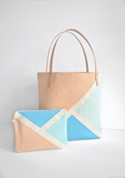 Tote: Canvas and Leather tote. Ocean Blue, Tan and Light Blue