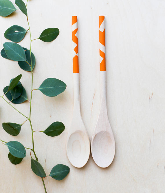 Wooden Spoon Set: Orange