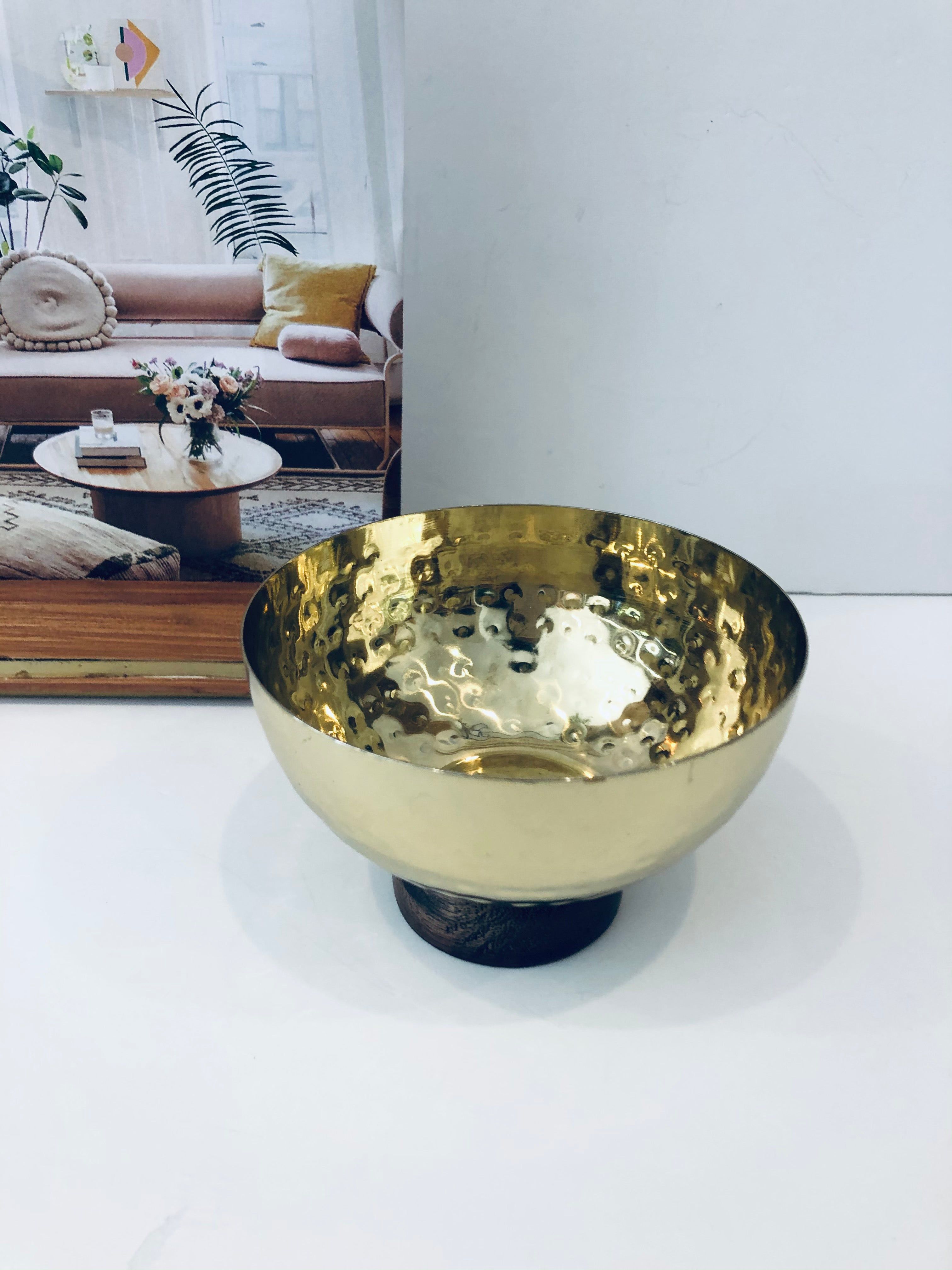 Harriet Hammered Bowl With Wooden Base