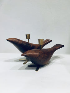 Wooden Bird Candle Holder