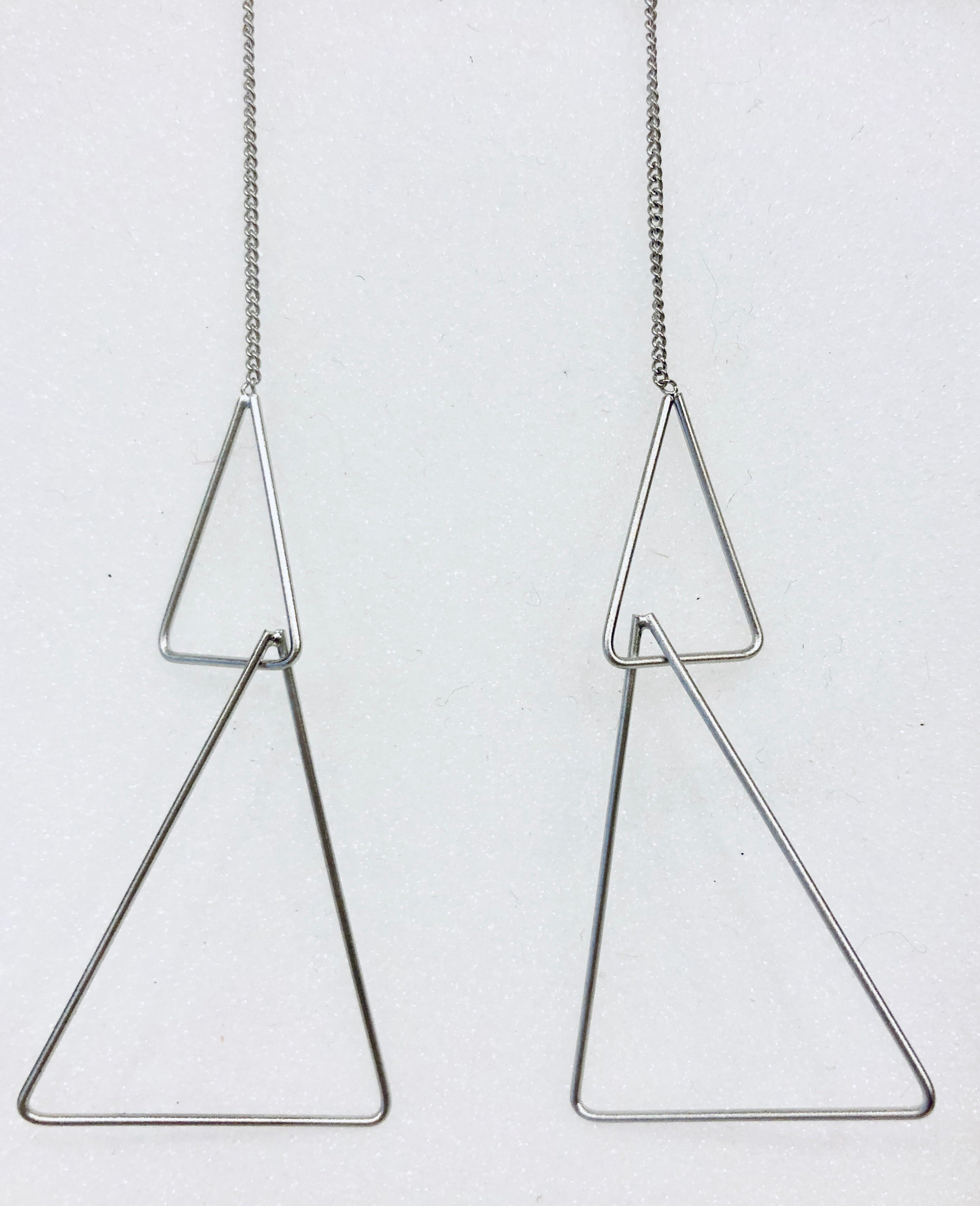 Double Triangle Satin Silver Earrings