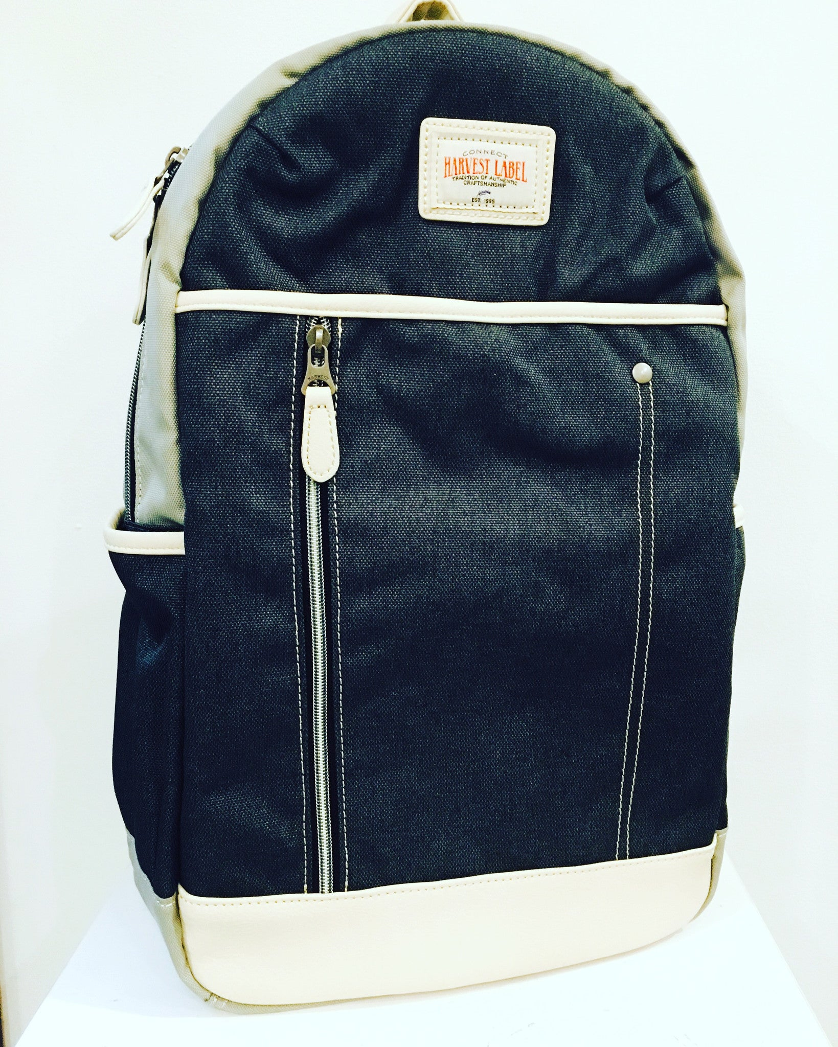 Backpack: Grey and white