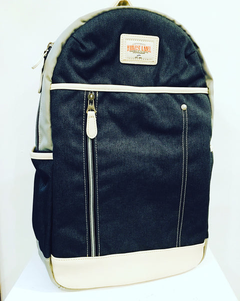 Harvest label backpack: Grey and white