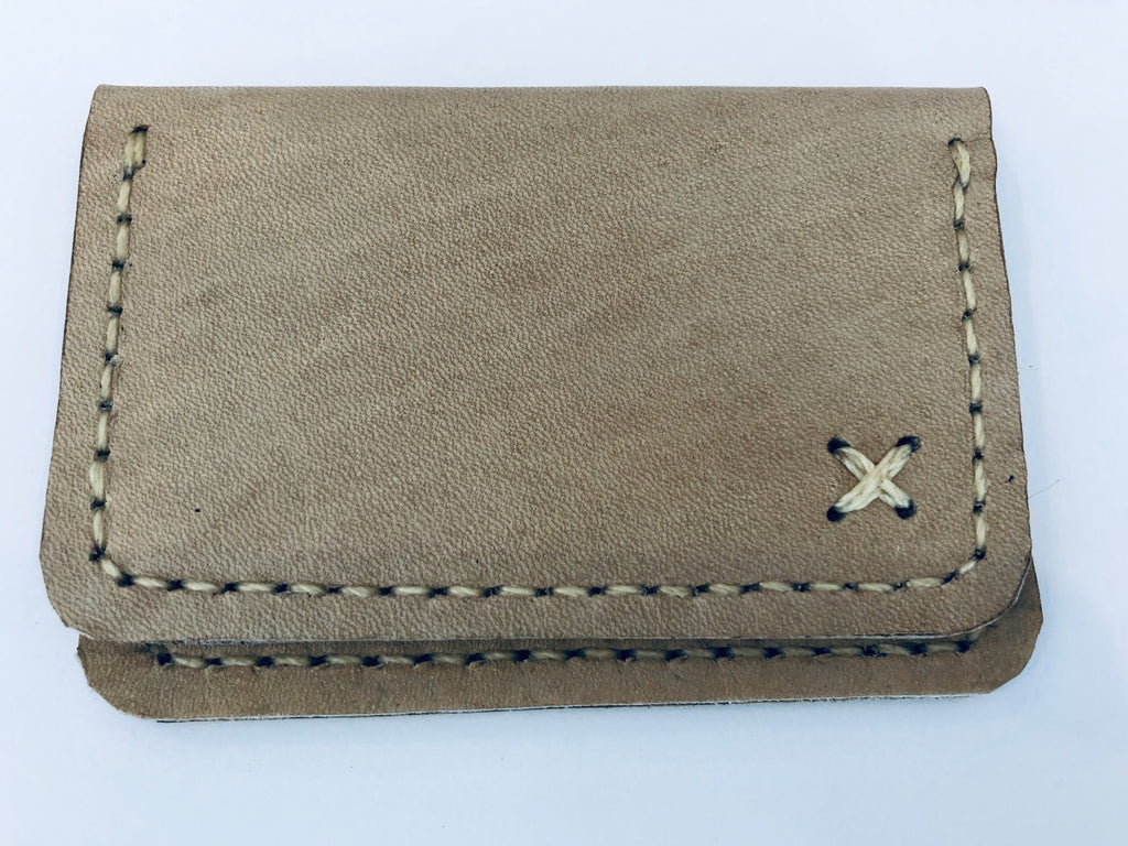 Leather Credit Card Carrier: Sandy Tan
