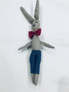 Linen Bunny Boy: Blue Pants & Red Bowtie
