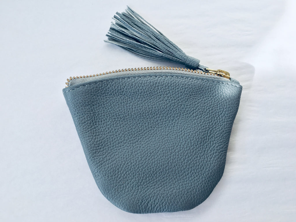 Cool Grey Leather Coin Purse