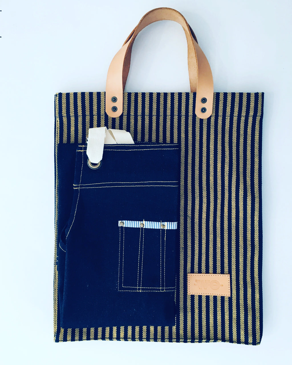 Striped Yellow and Navy Tote with Leather Handles