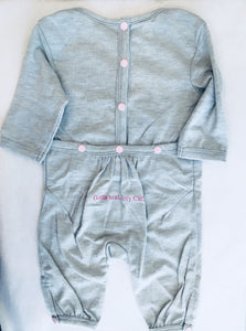 Heather Grey Onesie with Kitty: 0-6 months