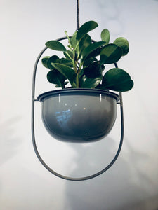 Enamel Hanging Planter: Grey