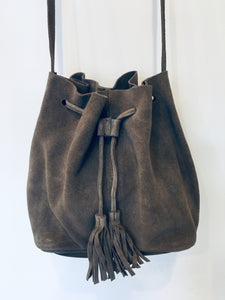 Grey Leather Bucket Bag with Tassels
