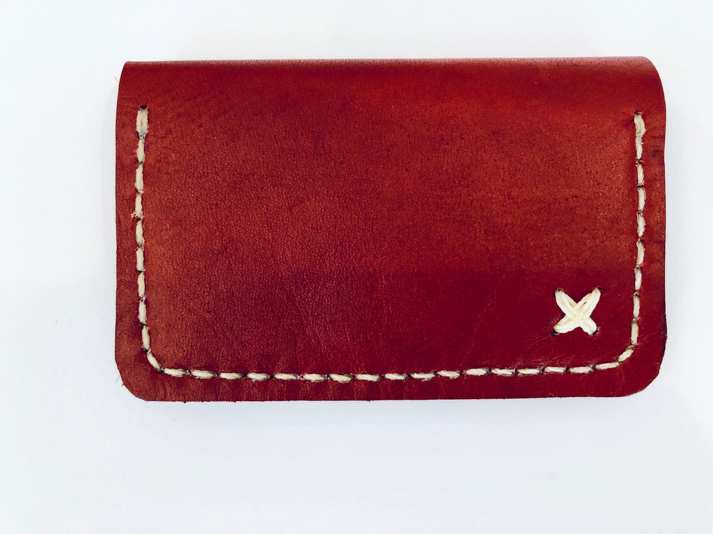 Leather Credit Card Carrier: Red Wine